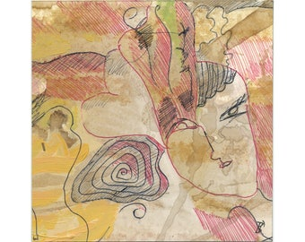 Small original 15/15 cm (5.9/5.9 inch) painting drawing