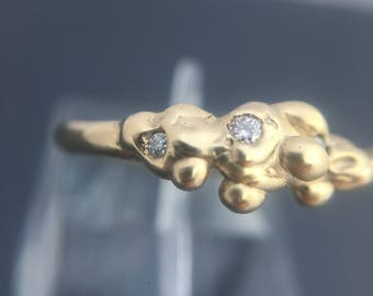 Unique one of a kind Moissanite stone alternative engagement ring in 9ct yellow gold