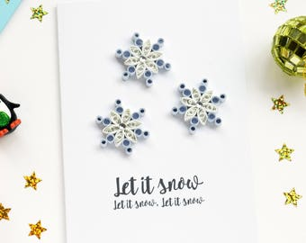 Quilled snowflake Christmas card set of 4, Christmas Card Pack, 3D Christmas Card, Holiday Card, Xmas Card, Greetings Card, Multipack cards