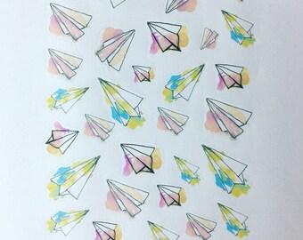 Wanderlust - planner/journal stickers (paper planes)