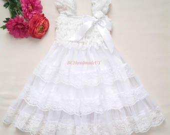 White lace dress, christening dress, white flower girl dress, communion dress, rustic flower girl dress, first birthday dress, baptism dress