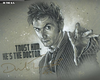 The Tenth Doctor - Original Doctor Who Drawing Autographed by David Tennant, The Doctor Himself