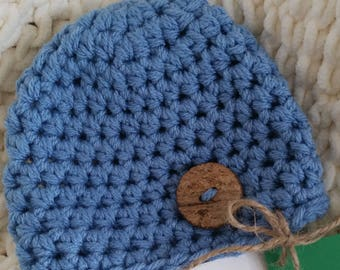 Infant Hat, Crocheted Newborn Beanie Hat, Boy or Girl Baby Hat, size 0-3 months, Newborn Hat, Baby Shower Gift