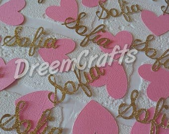Name Confetti. Heart Confetti. Personalized Confetti. 75-100 pieces.