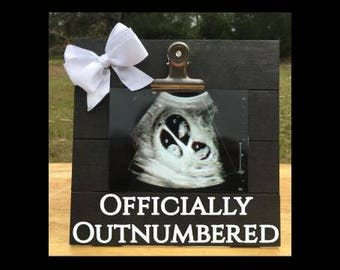 Officially Outnumbered - Funny Pregnancy Announcement picture clip frame. We're expecting twins/triplets/baby surprise gift ultrasound