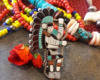 Vintage Signed J A Calavaza Zuni Signed Snake Dancer Inlaid Stone Ring