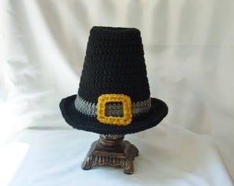 Baby Pilgrim Hat, Crochet Thanksgiving Hat, Baby Boy Holiday Hat, Halloween Costume Hat, Fall Baby Photo Prop black