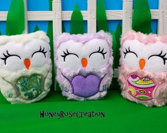 Owl stuffed toys.Embroidered owl.Personalized owl toy.