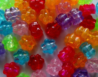 50 Acrylic Flower Jewellery/Craft Beads Assorted Colours 12mm