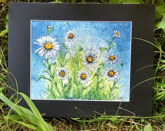 Large Matted Original Watercolor & Ink Painting of Daisies on Blue