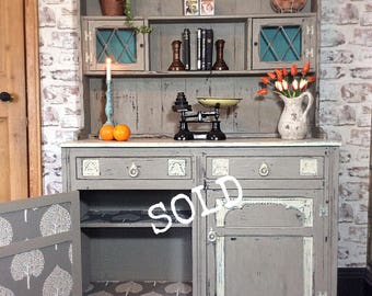 Vintage wooden rustic kitchen/dining dresser hand painted