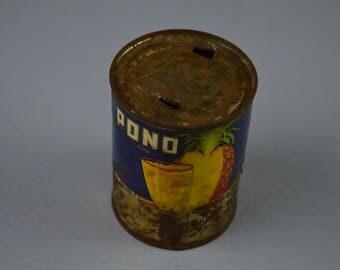 Vintage Fruit Juice Can from Hawaii, Lawai Cannery of Kapaa Kauai HI., Pono Pineapple Drink, #484