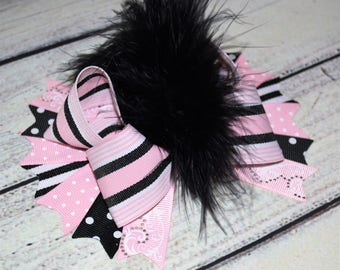 Pink and Black Over The Top Hair Bow,Girls Hair Bow, Baby Over The Top Hair Bow, Baby Over The top Headband