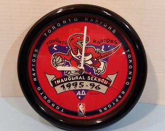 Vintage Toronto Raptors NBA Basketball Wall Clock Inaugural Season 95/96 8.25 inch diameter