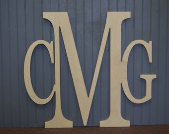 Initial Monogram, Personalized Monogram, Three Letter Monogram, Wooden Monogram, Wedding Gift, Nursery, Home Decor, Bedroom Wall Art