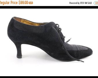 Vintage Escada Women shoes black suede and leather