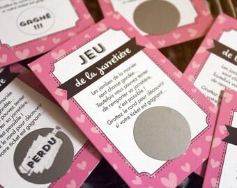 25 cartes à gratter jeux de la jarretiere mariage jeu pour les convives avec ce jeu revisité drôle et sympa motif