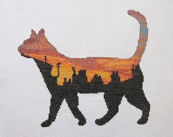 Cat cross stitch pattern, printable cat silhouette counted cross stitch, sunset, night city rooftops, pet animal, town, instant download PDF