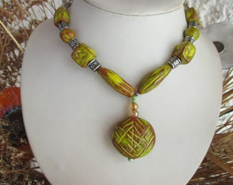 ART pottery - necklace - light green and copper color - FRANCE