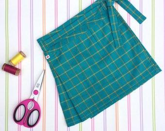 Organic girls skirt, turquoise kilt, plaid kilt, girls skirt, girls pleated skirt, girls cotton skirt, Christmas skirt, gifts for girls