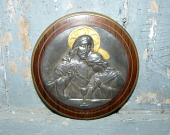 Medal Of Communion  Eucharist Chalice Wine religious wall plaque antique french religious decoration French Art Deco antique religious medal
