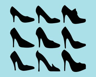 SVG | DXF | PNG Cut Files, Silhouette Heels Cutting File, Silhouette Woman Shoes Svg Files, Silhouette Heels Cricut File, Instant Download