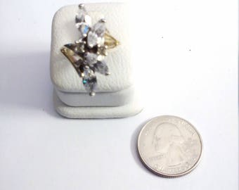Vintage Gold Tone Cubic Zirconia Marquis Ring, Size 7