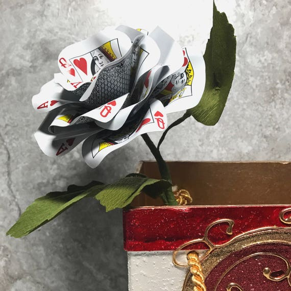 Playing Card Flower, Paper Flower, Casino Theme, Poker Flower, Gambler Gift, Vegas Wedding, Handcrafted Premium Crepe Paper Leaves
