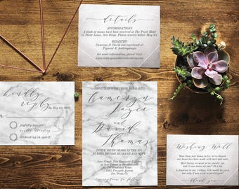 Marble Wedding Invitation Suite | Elegant Marble Design Modern Calligraphy | Printable Wedding Invite