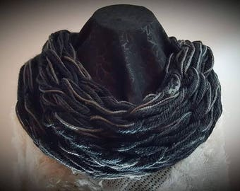 Black and Grey Arm knitted Neck Scarf