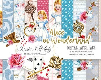 Digital Paper, in Wonderland, Paper Pack, Alice Digital Paper,  Watercolor Paper, Scrapbook ,Tea Party, Background,Girl Paper