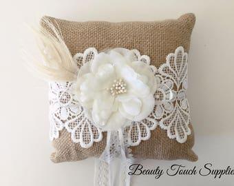 Burlap Ring Pillow Ring Bearer Pillow Wedding Gifts Wedding Burlap & Burlap ring pillow   Etsy pillowsntoast.com
