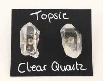 Clear Quartz Points Studs