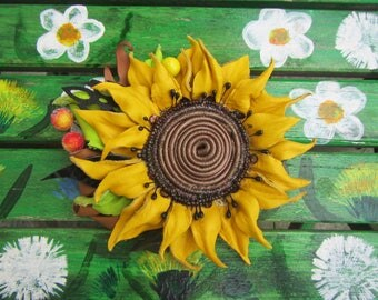 Sunflower brooch leather, Summer flower brooch, leather Sunflower brooch, flower brooch leather, leather flower brooch, leather, Sunflower
