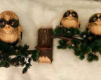 Hand Made Wood Carved One of a Kind Owl Decorative Wall Mount