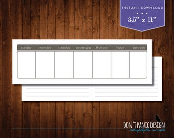 Printable Perpetual Weekly Calendar Planner - Simple Brown Planner - Instant Download