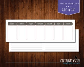 Printable Perpetual Weekly Calendar - Casual Pink Brown Daily Calendar - Instant Download