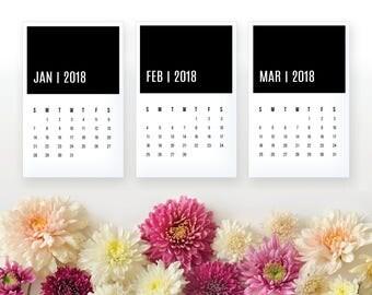 2018 Printable Desk Monthly Calendar - Black Color Block - Home Organizing - 2018 Instant Download Calendar