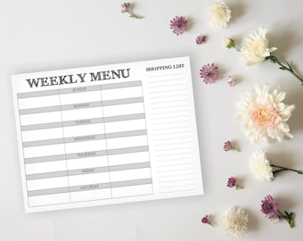 Printable Menu Planner - Rustic Daily Menu Planner Sheet - Meal Prep Grocery List Planner - Instant Download