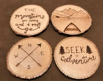 Mountains/Outdoors Inspired Wood Burned Coasters