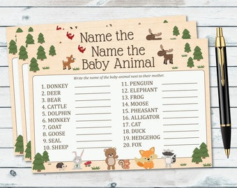 Baby Animal Name Game Baby Shower Printable, Woodland Baby Shower Printable Games, Baby Animal Name Game, Woodland Baby Shower Game- WOD13