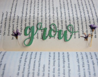 "Pressed Flowers Page Keeper with Word Art- ""Grow""- 2 1/4""x 6 1/4"""