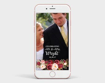 Marsala Floral Wedding Snapchat Filter, Rustic Burgundy and Pink Flower and Calligraphy Snapchat Geofilter Image - Wedding Snapchat Filter