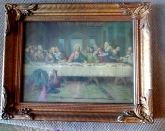Brunozetti's Last Supper Print in Fancy Gilded Wooden Frame