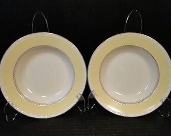 "TWO Homer Laughlin Eggshell Georgian Yellow Wheat LaurelSoup Bowls 8 1/4"" Set of 2 NICE!"