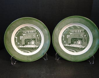 "TWO Colonial Homestead Royal China Dinner Plates Fireplace Hearth 10"" Set of 2 EXCELLENT!"