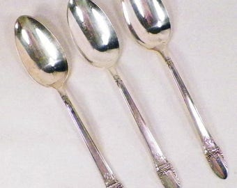 4 Antique 1847 Rogers Bros First Love Silver plate Tablespoons