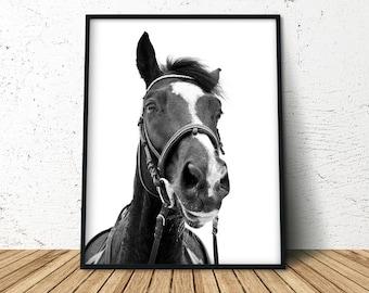 Printable Horse Art, Horse Print Photography, Horse Lover Gift, Black White Horse Print, Black White Horse Art, Wall Print Horse
