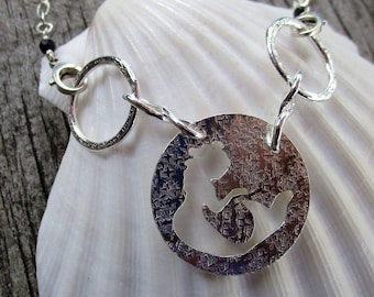 Modular jewelry mama metal Siren Song sterling and fine silver centerpiece // ready to ship
