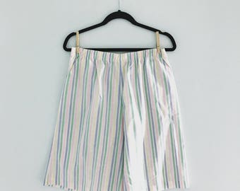 Vintage Baggy Elastic Pastel Striped Shorts